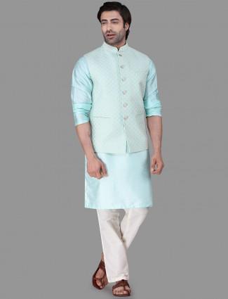Green raw silk mens waistcoat set