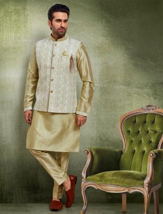 Green raw silk waistcoat set for mens