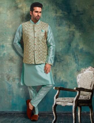 Green raw silk waistcoat set for parties