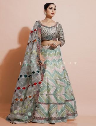 Green silk designer lehenga choli
