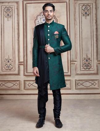 Green silk mens indo western designs