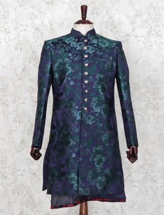 Green silk party wear indo western
