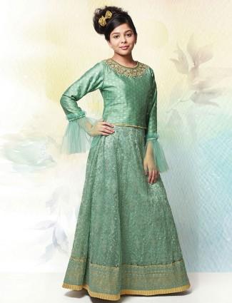 Green silk round neck wedding lehenga choli