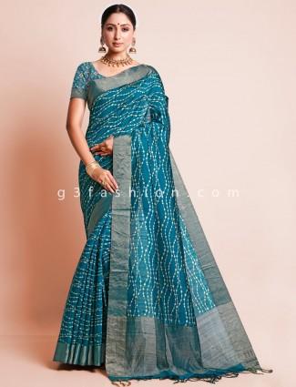 Green south silk festive wear sari