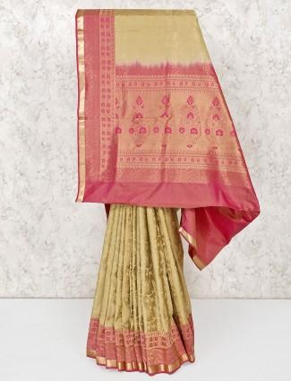 Beige south silk saree for wedding