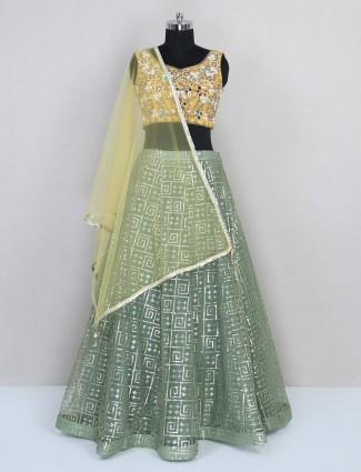 Green wedding exclusive net lehenga choli