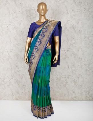 Green zari weaving pure silk saree
