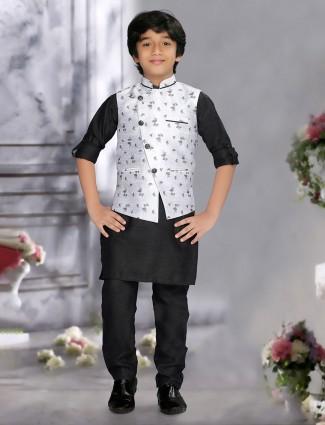 Grey and black color raw silk printed waistcoat set