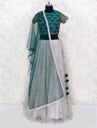 Grey and green net party wear lehenga choli