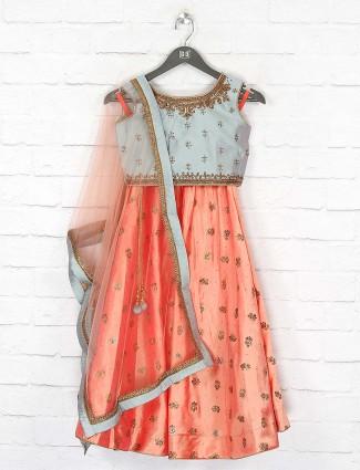 Grey and peach color designer lehenga choli