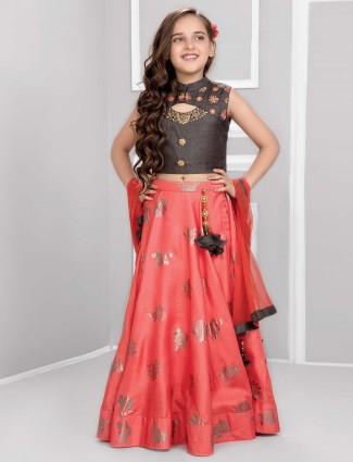 Grey and pink cotton silk lehenga choli for wedding
