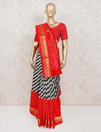 Grey and red parola silk wedding saree