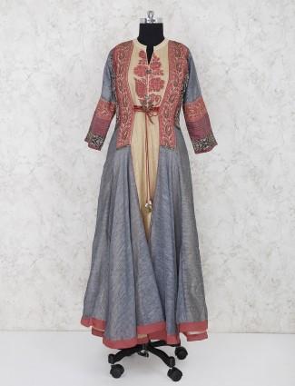 Grey and yellow cotton fabric salwar suit