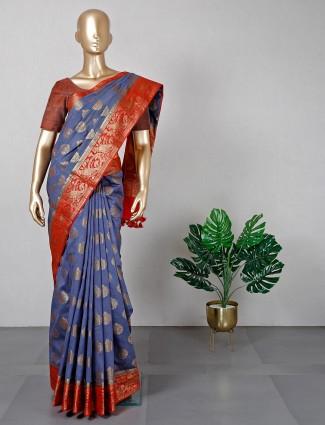 Grey baanrasi cotton silk for festive wear