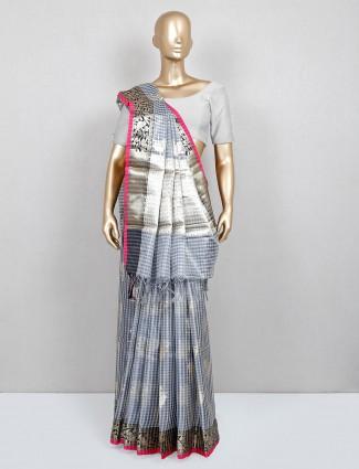Grey banarasi cotton silk saree for festive wear