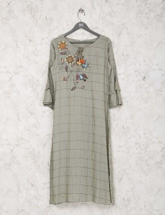 Grey color checks cotton kurti set