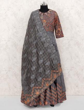 Grey color cotton designer anarkali salwar suit