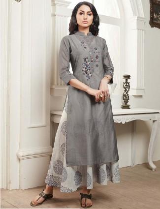 Grey color cotton festive kurti