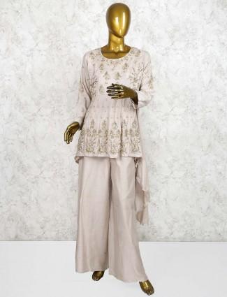 Grey color cotton silk festive punjabi palazzo suit