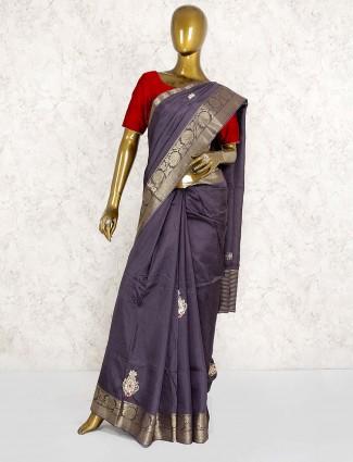 Grey color festive saree in semi silk fabric