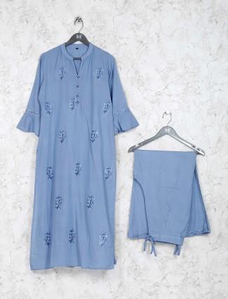 Grey color festive wear cotton kurti set