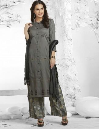 Grey color festive wear punjabi palazzo suit