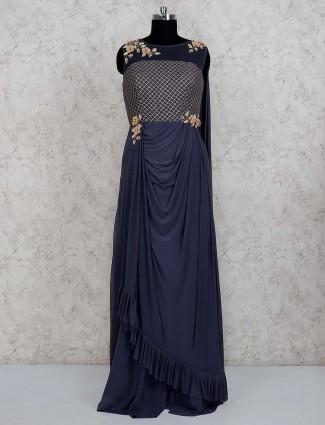 Navy color lycra net designer gown