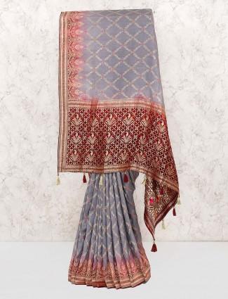 Grey color muga silk festive saree