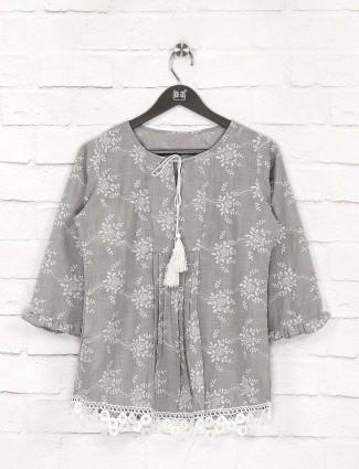 Grey color simple cotton top for women
