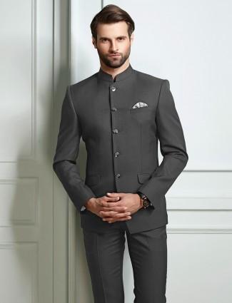 Grey color terry rayon jodhpuri suit