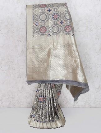 Grey color wedding wear banarasi silk saree