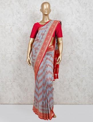 Grey colored festive wear saree in cotton silk