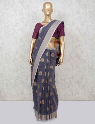 Grey cotton classic saree