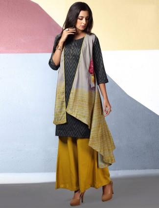Grey cotton festive kurti set