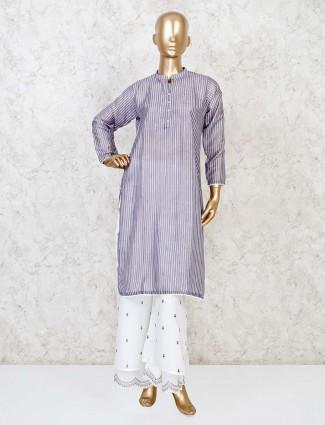Grey cotton festive stripe punjabi palzzo set