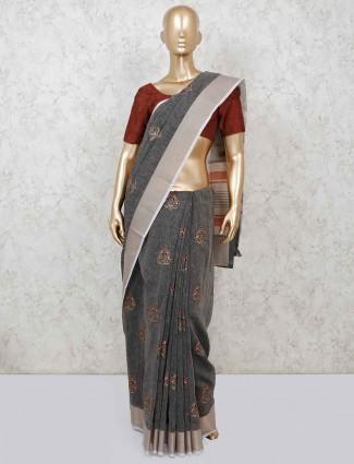 Grey cotton festive wear saree