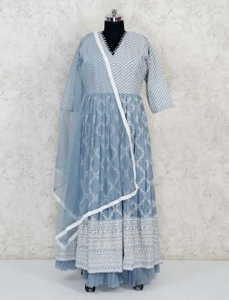 Grey cotton floor length anarkali suit