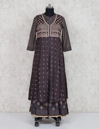 Grey cotton silk double layer salwar suit