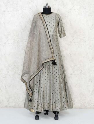Grey cotton silk floor length anarkali designer suit