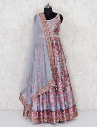 Grey cotton silk printed floor length anarkali suit