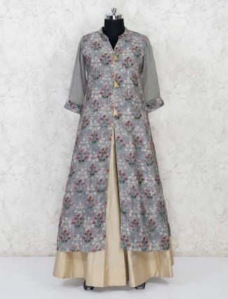 Grey cotton silk printed lehenga suit