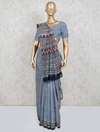 Grey cotton traditional wear saree