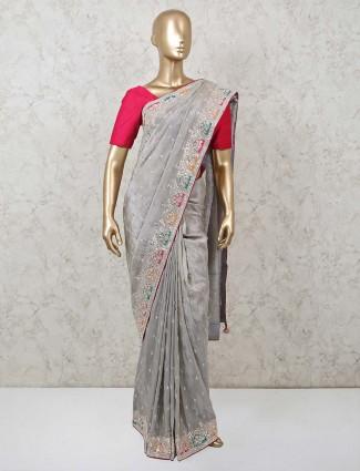 Grey designer latest saree in muga silk for wedding