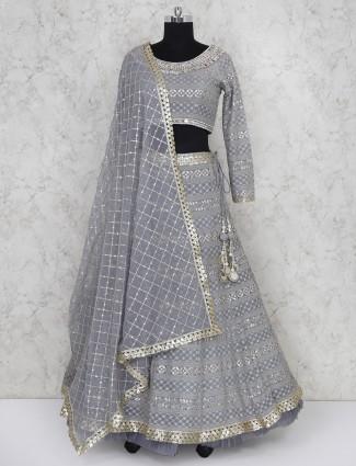 Grey georgette fabric party wear lehenga choli