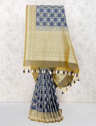 Grey hue banarasi semi silk saree for wedding occasion