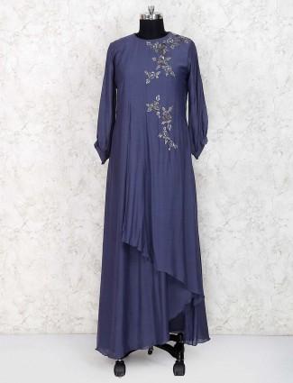 Grey hue cotton fabric designer long salwar suit