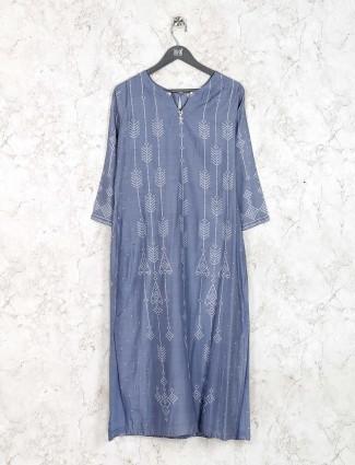 Grey hue cotton fabric printed kurti set