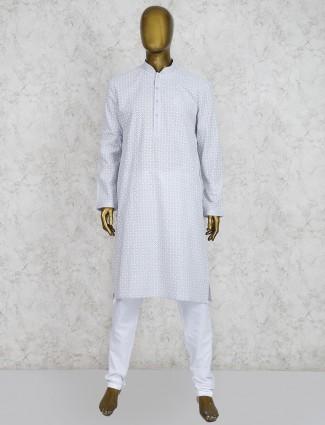 Grey hue cotton party wear kurta suit