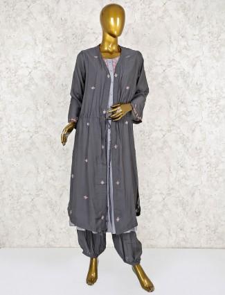Grey hue cotton salwar suit with jacket