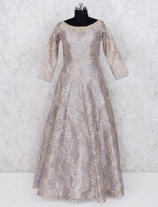 Grey hue cotton silk floor length anarkali salwar suit